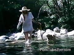 Beauty in big hat have sex with her lovely doggy in the forest